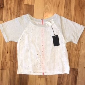 J.O.A. Short Sleeve Eyelet Crop Top